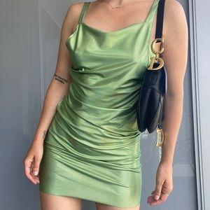 Metalic Green Mini Dress